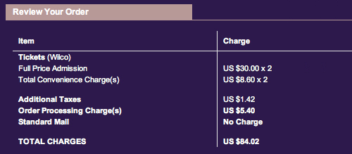Ticketmaster Charges